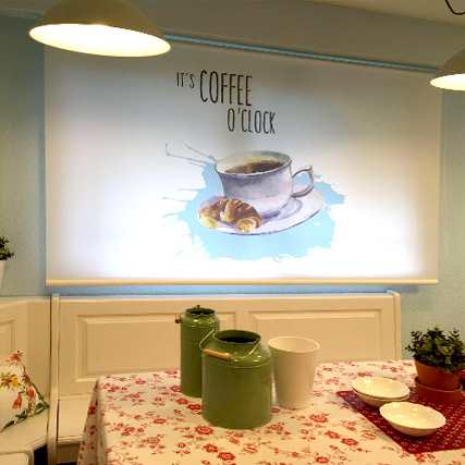 coffee time print printed roller blinds cortinadecor