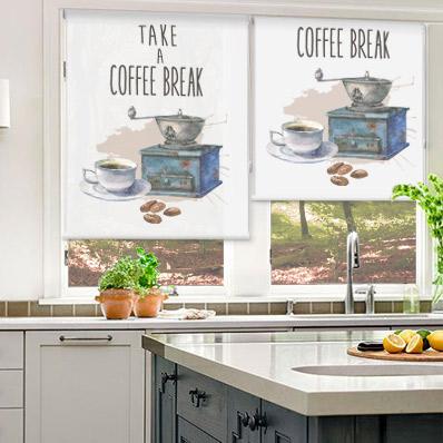 Estores para cocina con estampados y motivos para el desayuno for Estores con dibujos