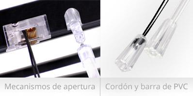 Mecanismo de apertura y paso de luz de cortina veneciana con lama de 25mm
